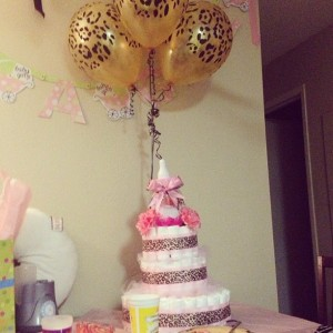 "Diaper cake made by ""A""."